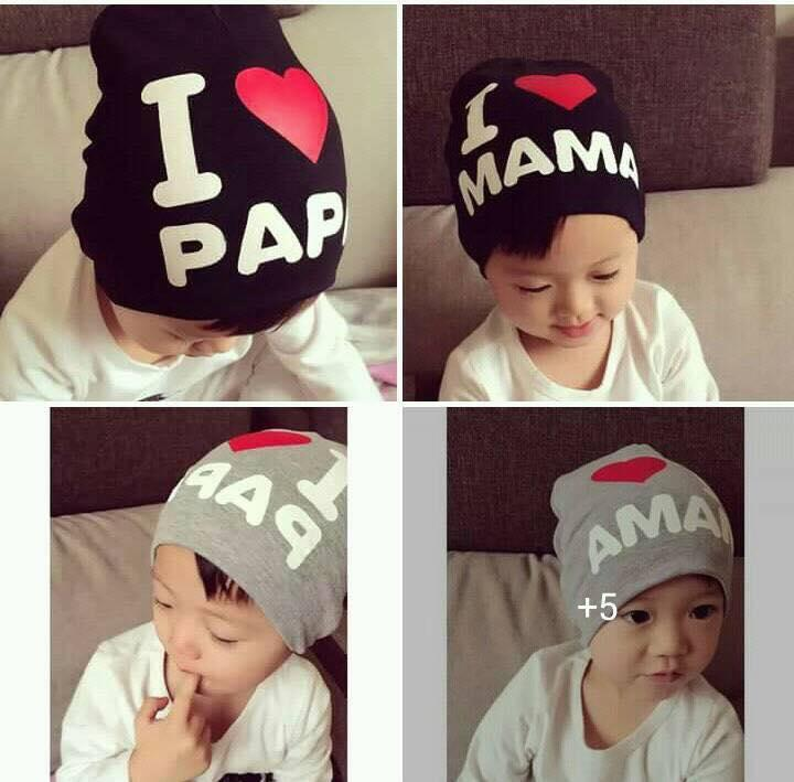 f49d4a57443 Mart Cute I LOVE MAMA PAPA Baby Kids Cotton Beanie Bonnet