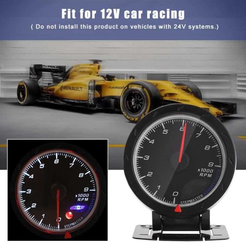 MOTOR METER RACING 2 Tachometer for Diesel 6000 RPM White LED Backlit Waterproof Pin-Style Install