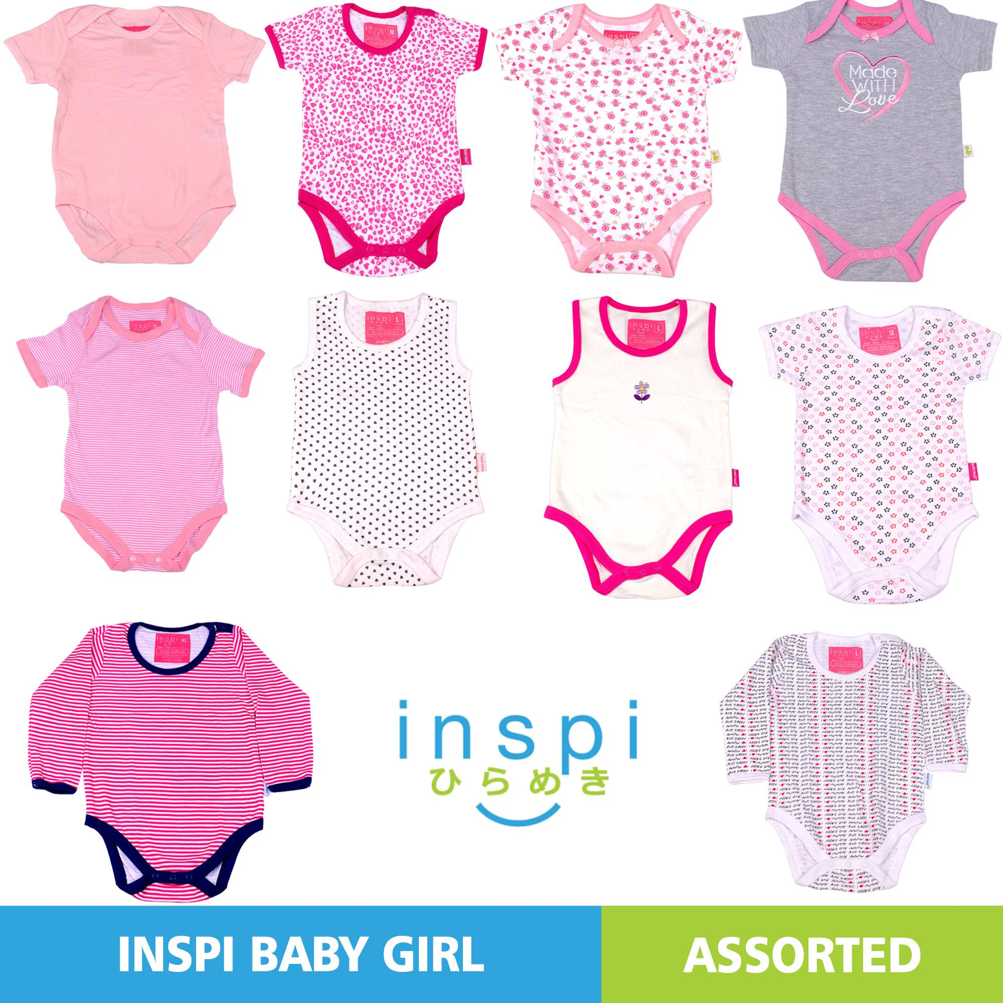 INSPI Babies Girls ASSORTED (Set of 2) 100% Cotton Onesies Newborn Infant  Quality f59251dc2