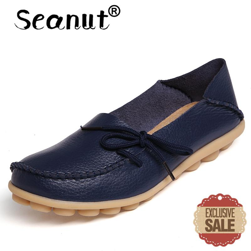 Seanut Fashion Leather Comfortable Slip-On Women Casual Shoes Loafers (Dark Blue) -