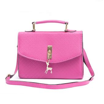 AMOG Korean Women PU Leather Crossbody Messegner Square Bag Sling Shoulder Bag with Deer Pendant