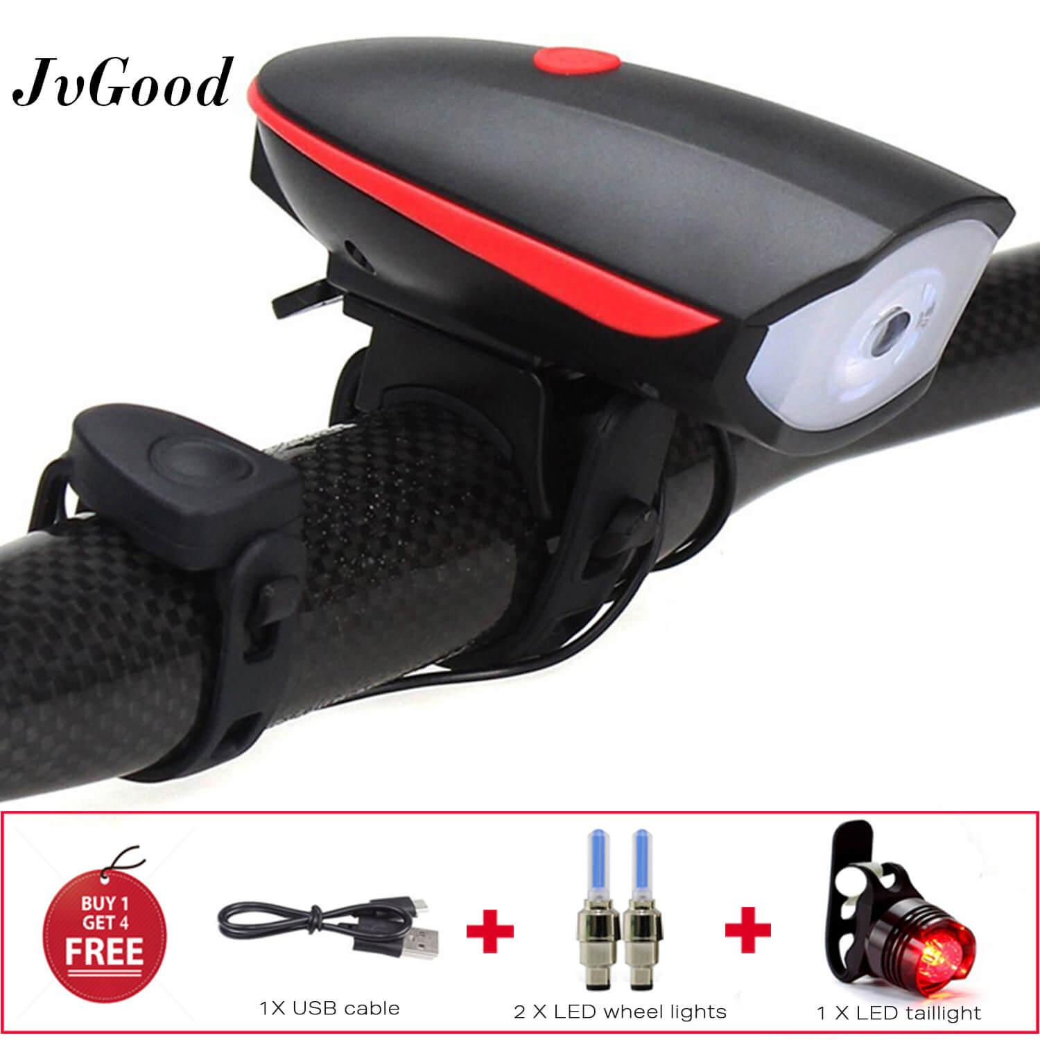 JvGood Bike Lights Set Bicycle Front Light Rechargeable Bicycle Headlight Bicycle Horn Light USB Charger Bicycle