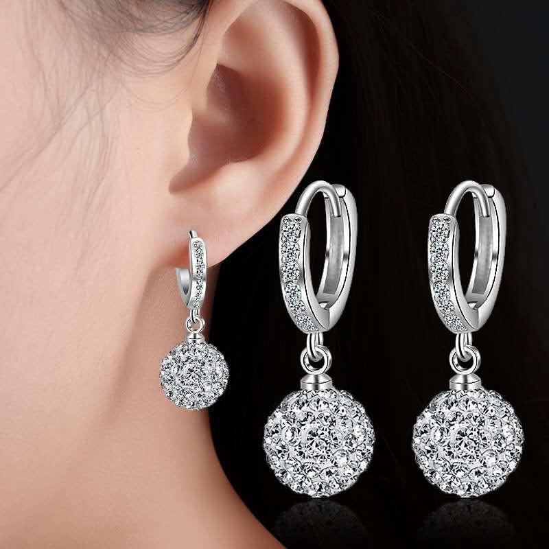 hanscp Women's Rhinestone-studded Silver Earrings#s5