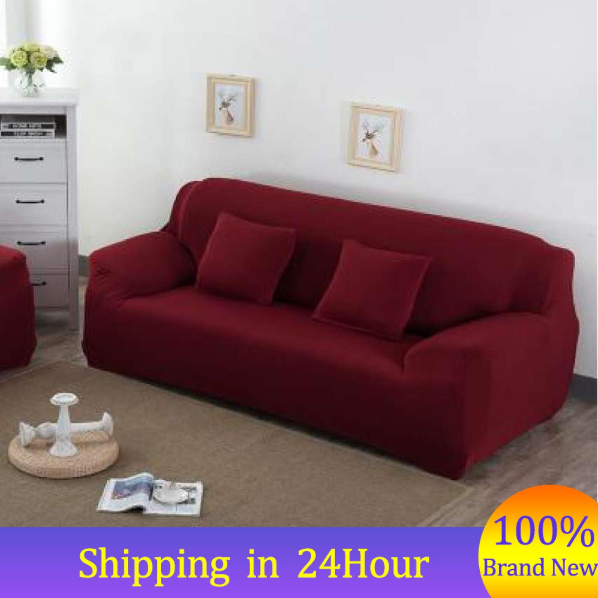 【Free Shipping】(3 Seater)7 Solid Colors Household Stretch Elastic Sofa Couch