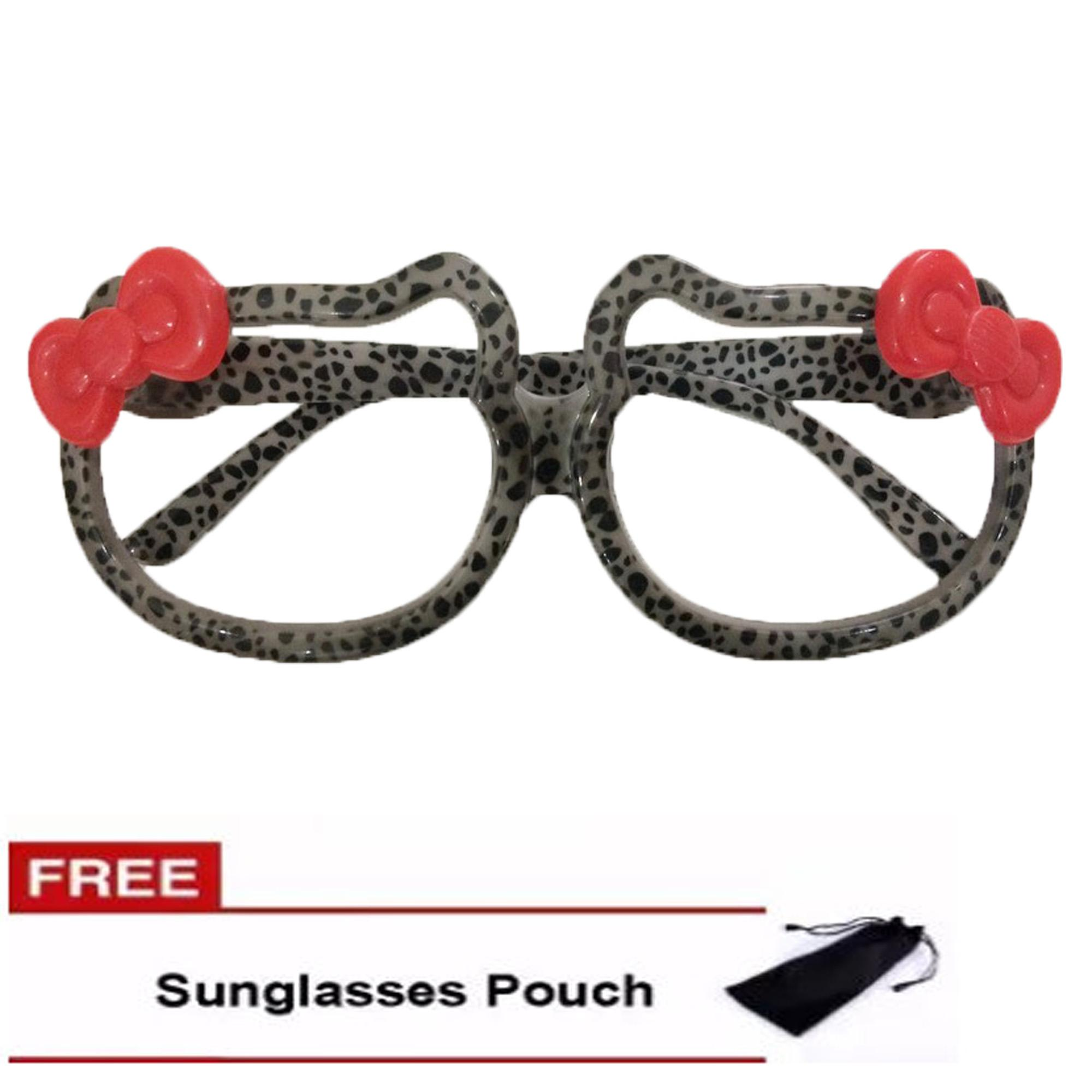 0f8baeb19722 Women s Fashion Kawaii Cartoon Character Cat Bow Animal Print Eyeglasses  Frame FREE pouch