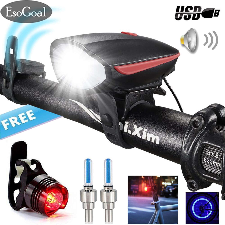 EsoGoal Bike Lights Set Bicycle Headlight With Horn 120 Db And Tail Light, Ultra Brightness