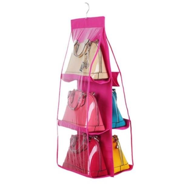 Handbag Bag Storage Holder 6 Pockets Hanging Shelf Hanger Purse Rack Organizer