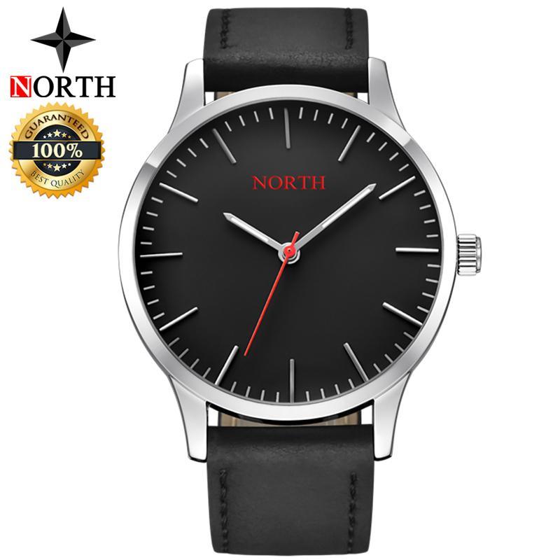 NORTH Mens Watches Top Brand Luxury Men Leather Quartz Business Watch Men Simple Fashion Waterproof Sports