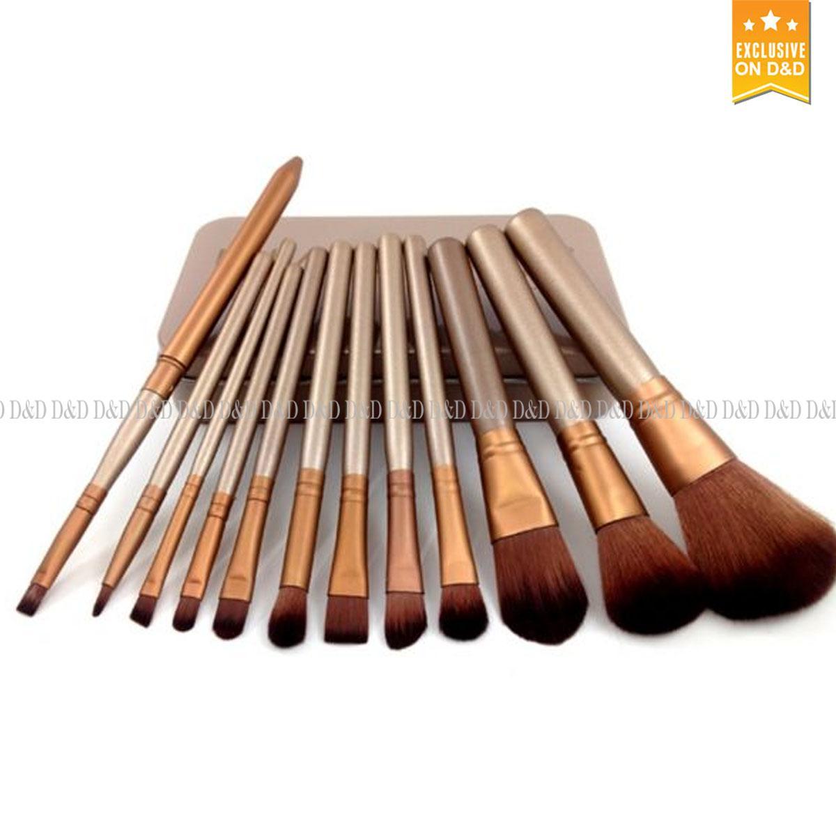 D D 12 Pcs Professional Make Up Brushes Set (Gold) 976439ef607a