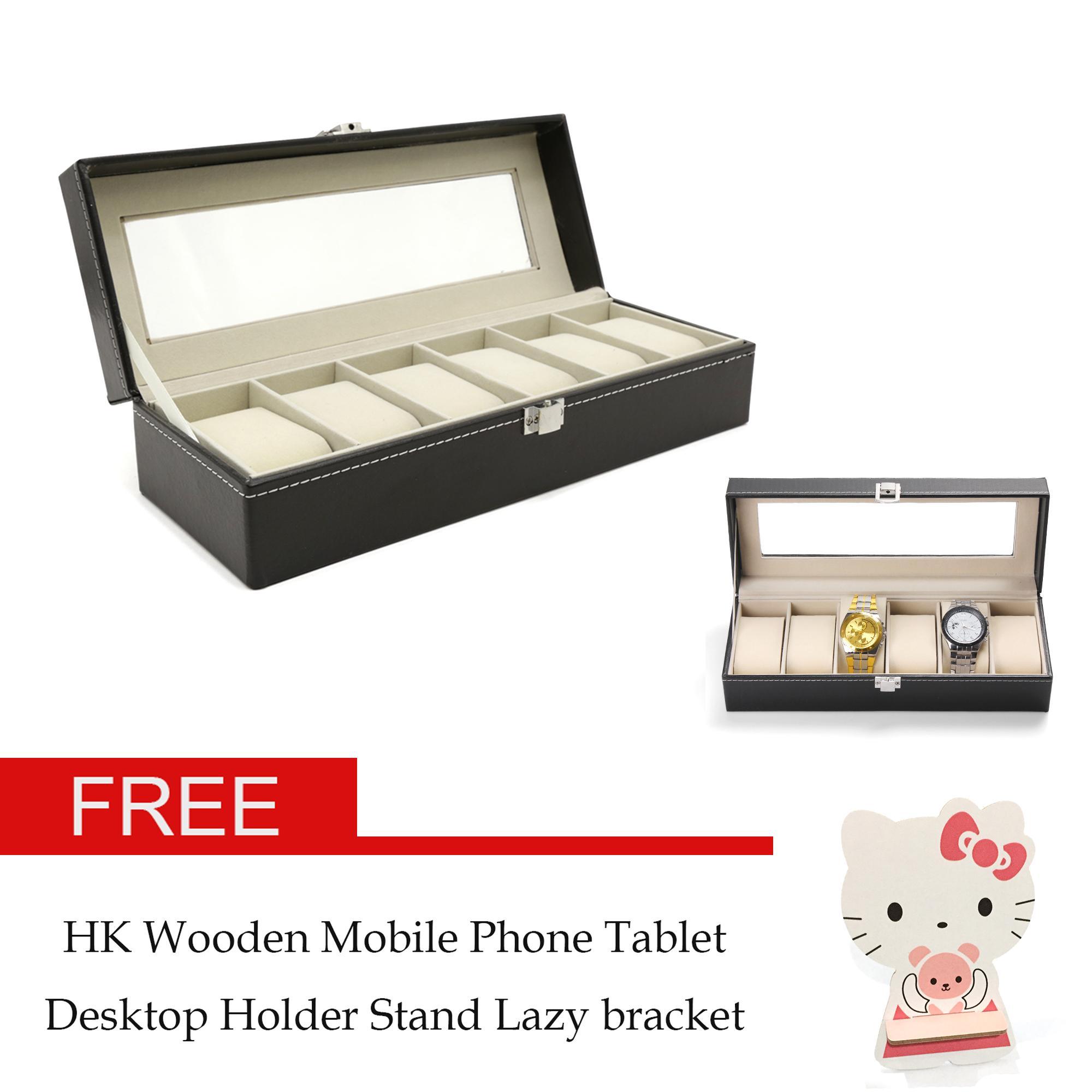 bc6e6e2cf77 AMOG 6 Grid Slots Jewelry organizer Watches Box Display Storage Box Case  Leather Jewelry Case Organizer