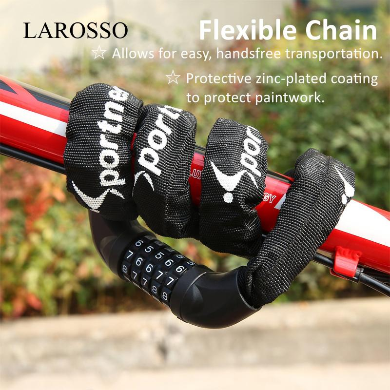 Larosso Bike Lock Cable, Bicycle Chain Lock, 5-Digit Resettable Combination Bicycle Cable Lock Bike Locks By Larosso Home.