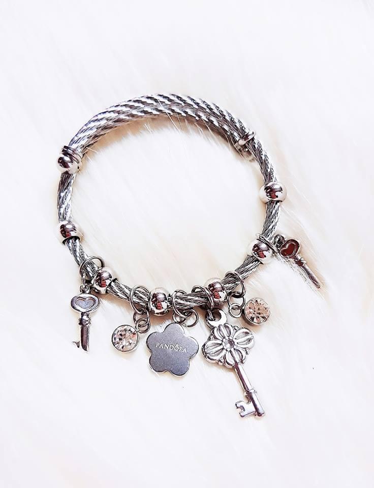 Pandora Bangle Bracelet Key Flower Charm Silver
