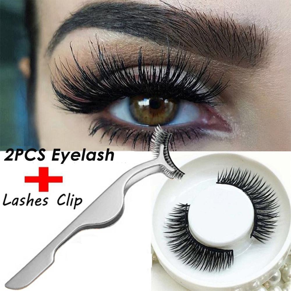 niceEshop 2 Pcs 3D Eyelashes False Eyelashes With Eye Lashes Makeup Kit + 1Pcs False Eyelash Clip - intl Philippines