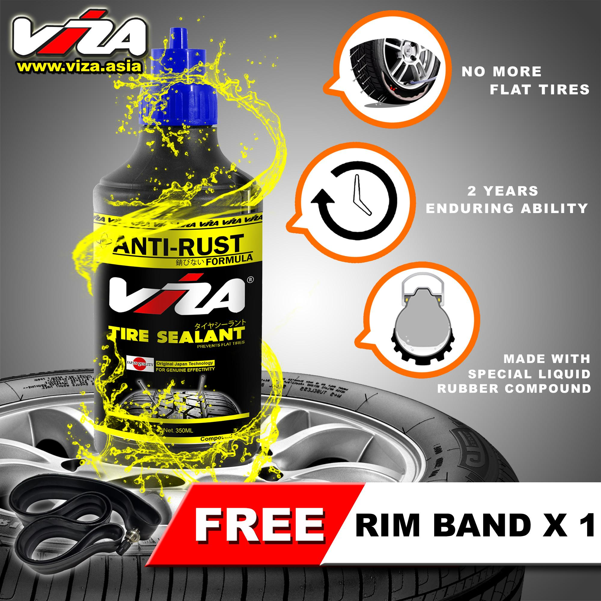 Viza® Premium Tire Tyre Sealant (350ml) With 1 X Rim Band By Viza International.