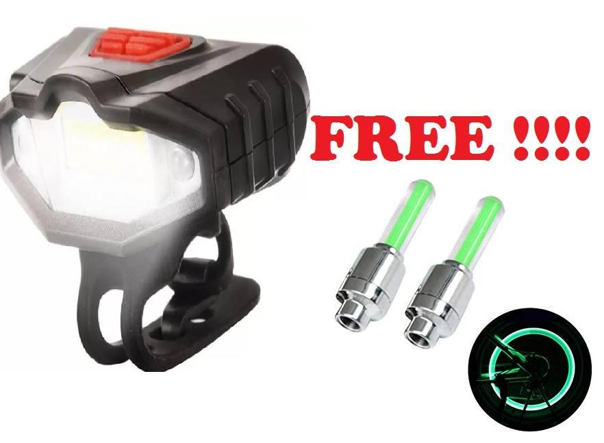 USB Rechargeable Waterproof Bicycle Bike LED Front Rear Tail Lamp Head Light free 2pcs. tire