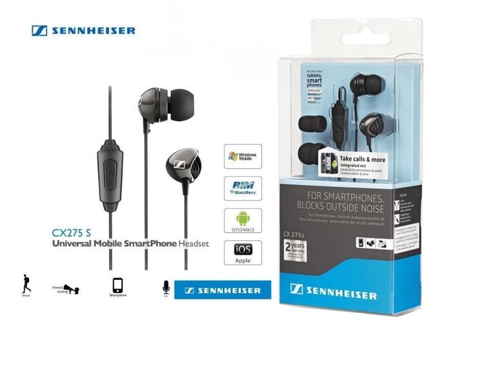 Original Sennheiser CX 275S In-Ear Universal Mobile Headphone With Mic ( Black)