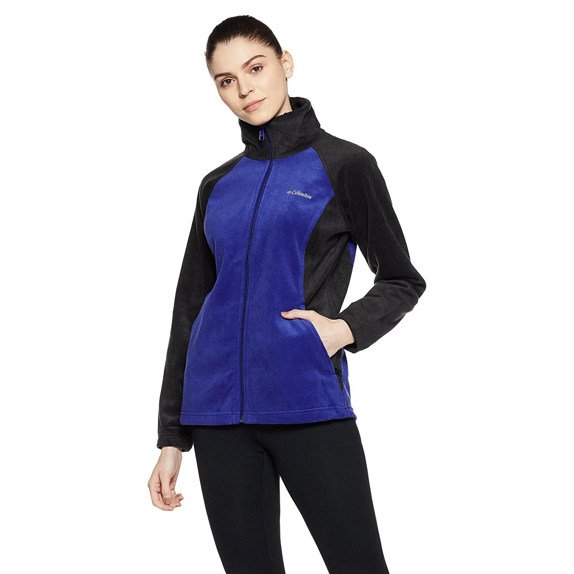 5a1776338da69 Columbia Women's Dotswarm II Fleece Full Zip Thermal Reflective Jacket,  Black/Dynasty, Large