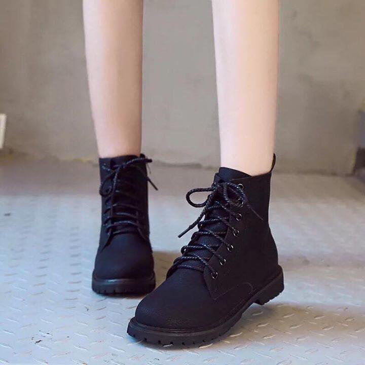 57068c83711e3d Korean Leather Round Toe High Cut Lace Up Fashion Boots For Women