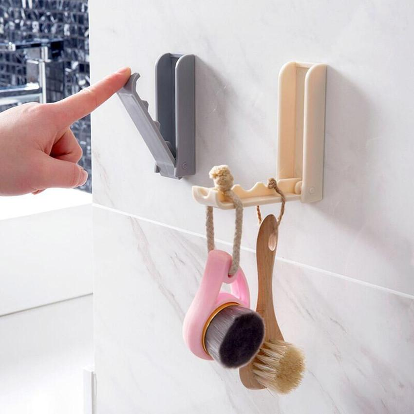 Folding Self Adhesive Wall Over the Door Hook Hanger Rack for Clothes Bag Towel
