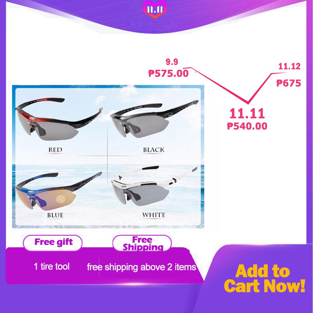 RockBros Polarized Cycling Sports Sunglasses with 5 Pairs of Lenses (Black) - intl
