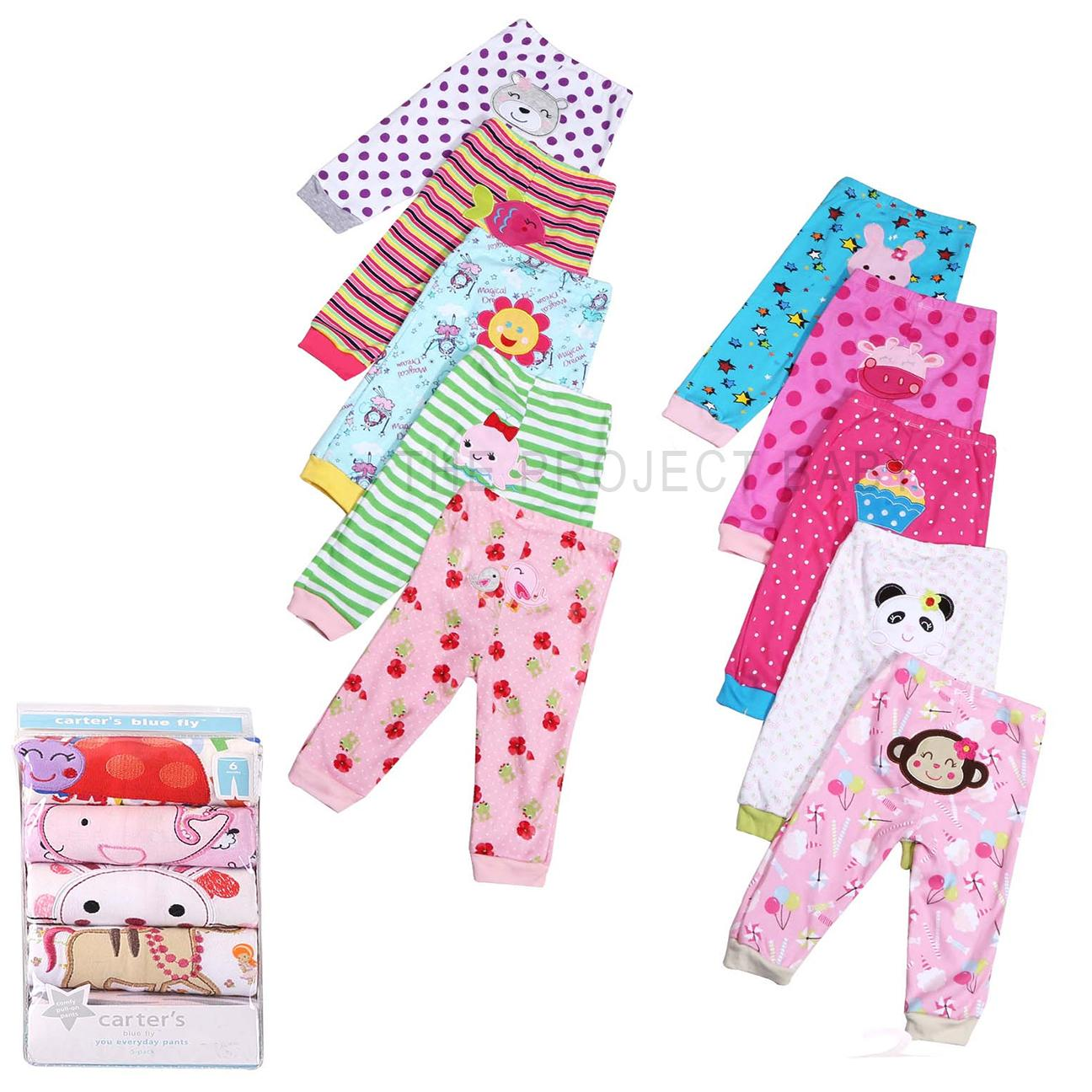 56bc19496 5 pack Carter's bluefly 100% Cotton Baby Girl pants sleepwear bottom  pajamas kids infant set