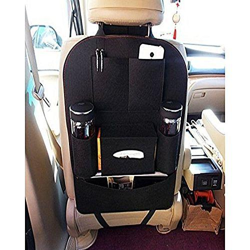 Phoebes Universal Car Back Seat Organizer tissue bottle holder Ipad magazine pocket (BLACK)