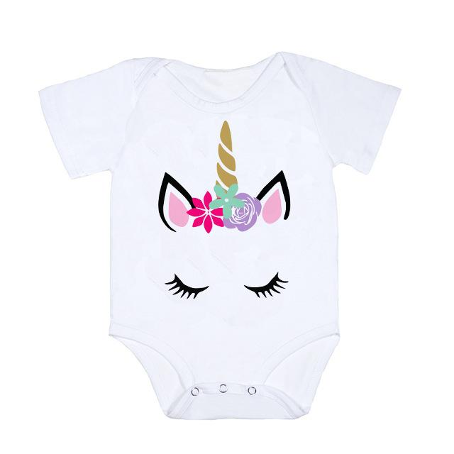 Unicorn Parent-child Outfits Women Kids Short-sleeve T-Shirt Baby Romper Birthday