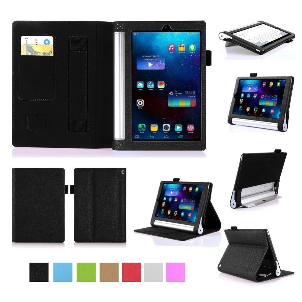brand new 66ef4 56aae Premium PU Leather Case Stand Cover for Lenovo Yoga Tab 3 8.0 850 and Yoga  Tablet 2 8.0 830 with Velcro Hand Strap and Card Slots (Black) - intl