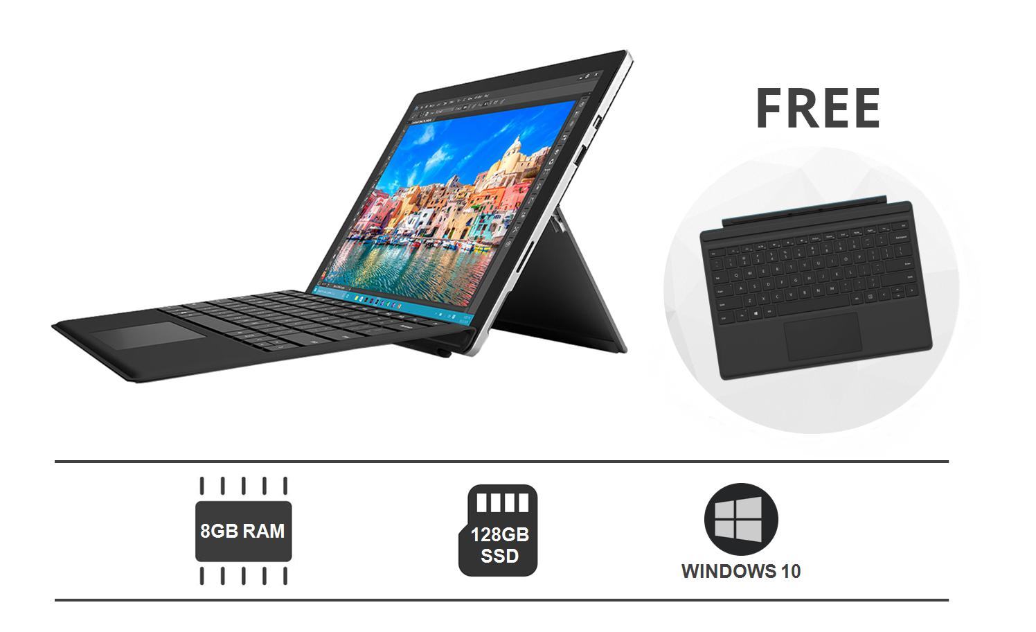 Microsoft Surface Go Tablet (10 inch, 8GB RAM, 128GB SSD, Windows 10 Pro)  with Type Cover (Black) Bundle