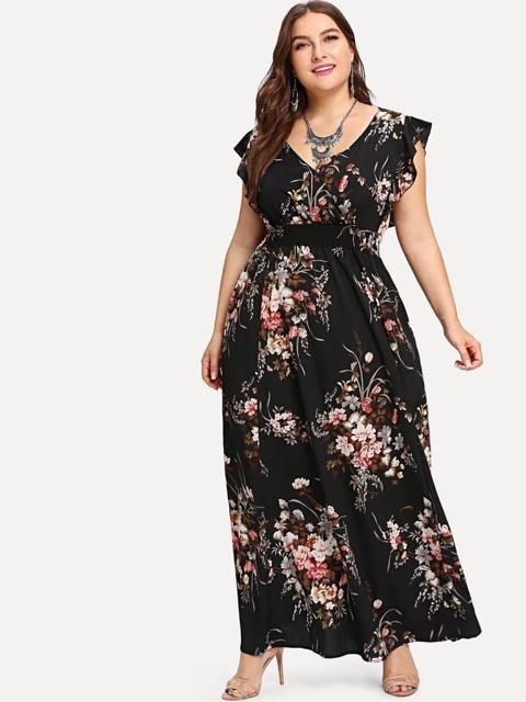 c6be1da907 Sebrina store maxi floral Plus size dress v neck long dress Free size can  fit to