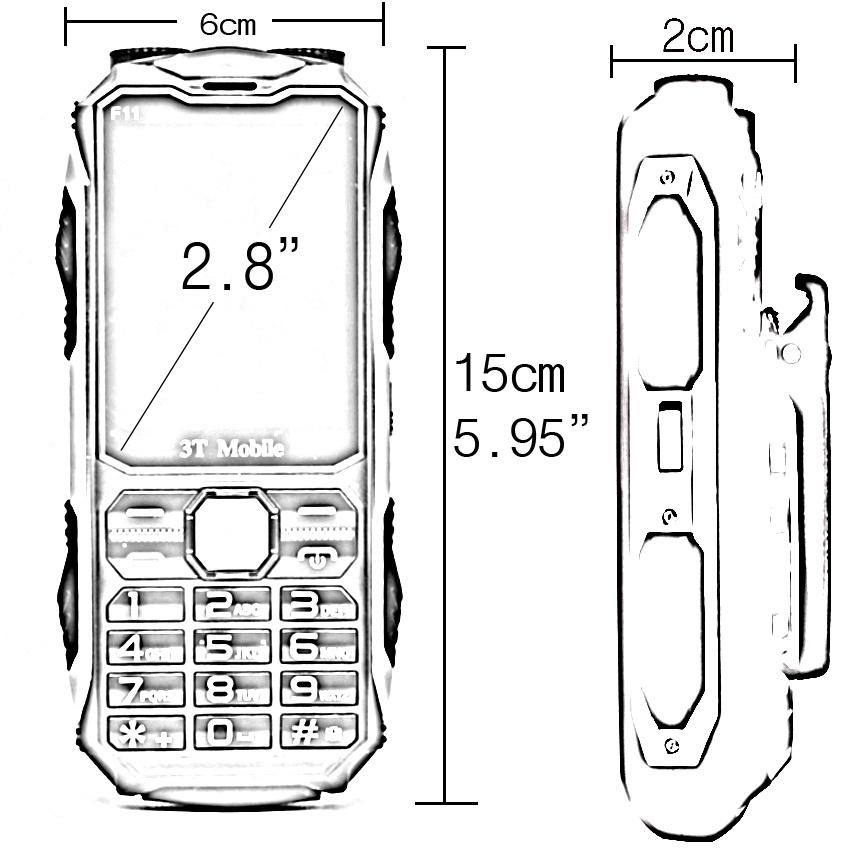 3T Mobile F11 22,000 mAh PowerBank Phone (Army Green)