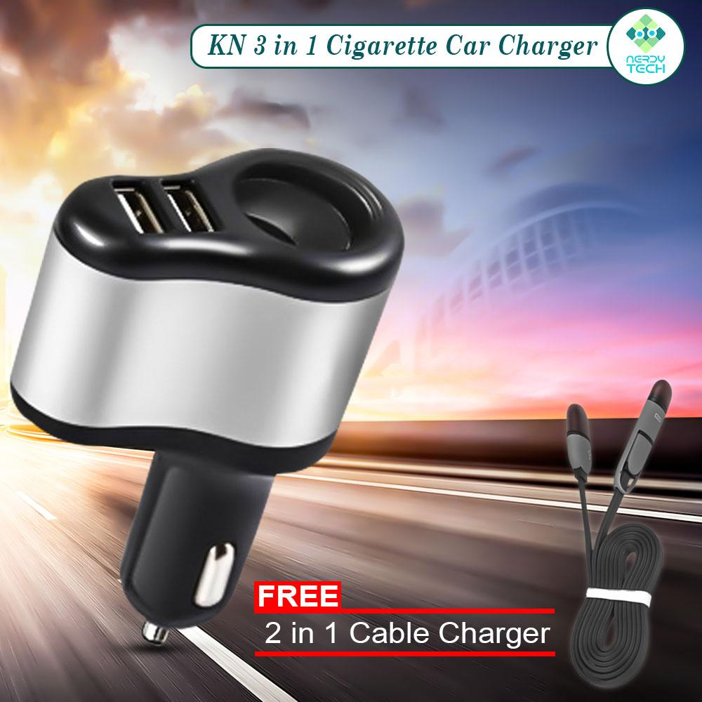 Car Charger Usb For Sale Phone Prices Brands Specs Low Power Bike Kn 3 In 1 Dual Port Cigarette Socket With Free 2