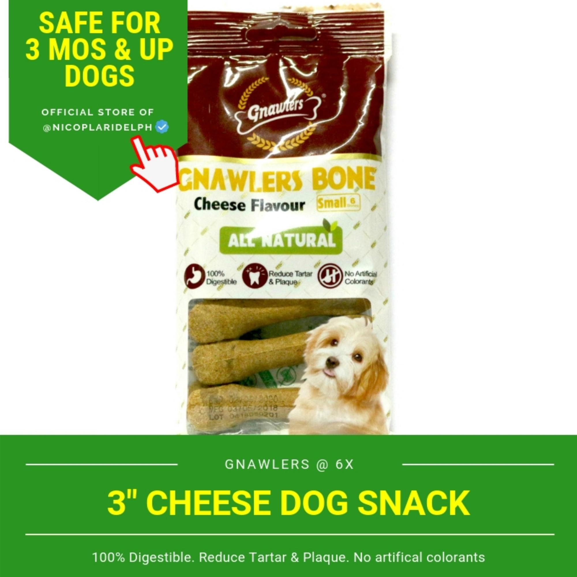Gnawlers 3-Inch Cheese Dog Snack (108g) By Nicoplaridelph.