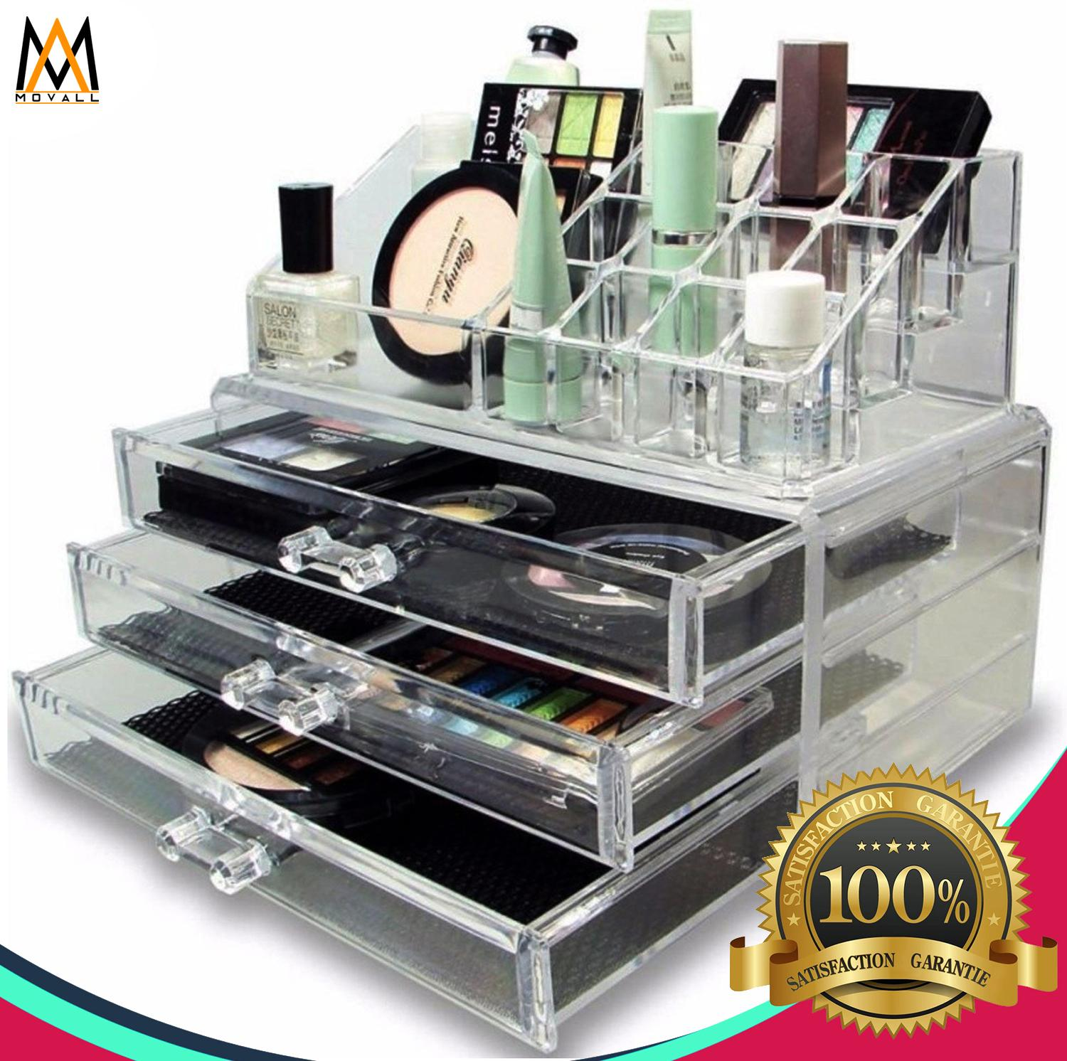 Acrylic Cosmetics Organizer 3 Drawers Makeup Set