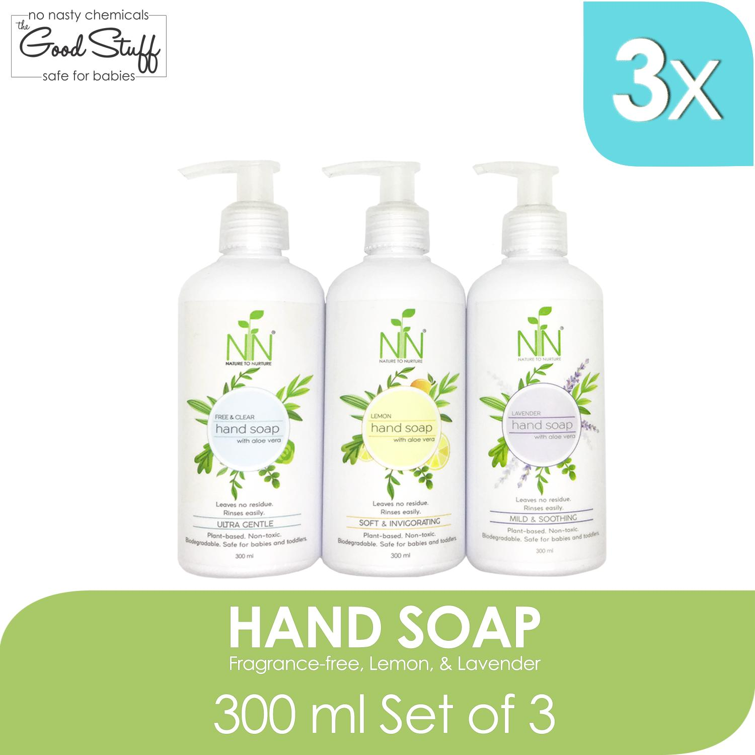 Nature To Nurture Hand Soap With Aloe Vera 300ml Set Of 3 (free & Clear, Lavender, Lemon) By Nature To Nurture.