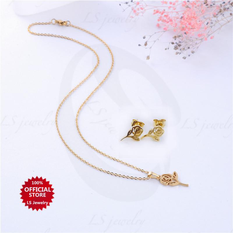LS jewelry Fashion 14K Gold plated Stainless steel necklace and earrings set N0027-set