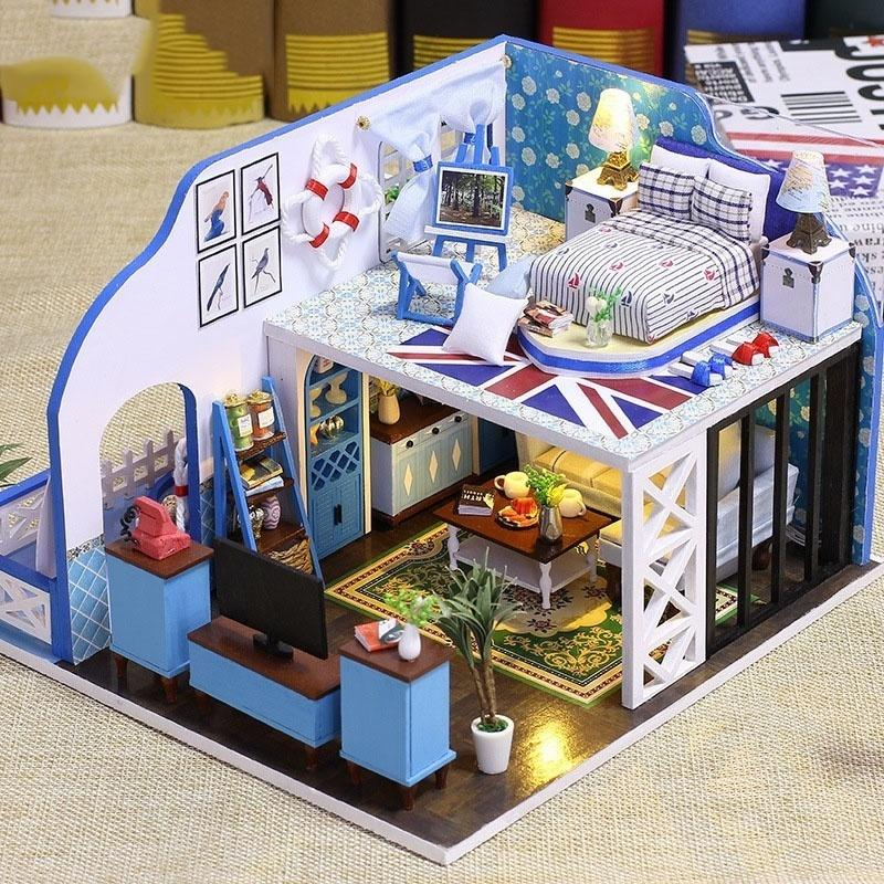 Great DIY Doll Houses Miniature Dollhouse Kids Toy Furniture Miniatura Wooden  Handmade Toys