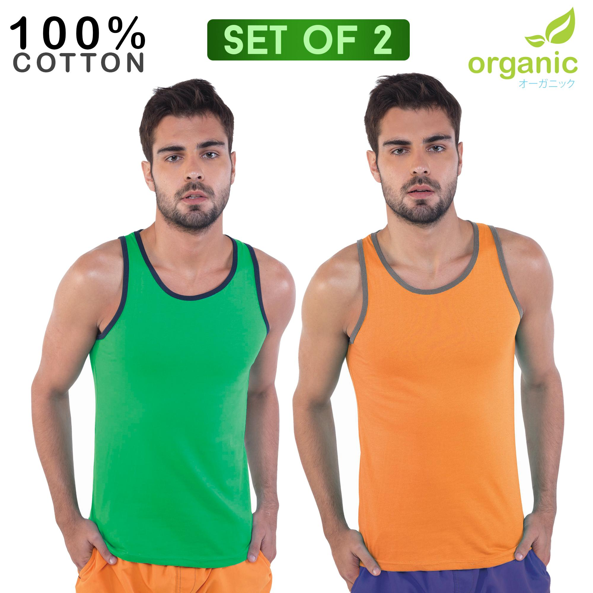 Organic Mens 100% Cotton (set Of 2) Green+orange Tank Top Sando Tees T Shirt Tshirt Shirts Tshirts Tops Top For Men By Organic.
