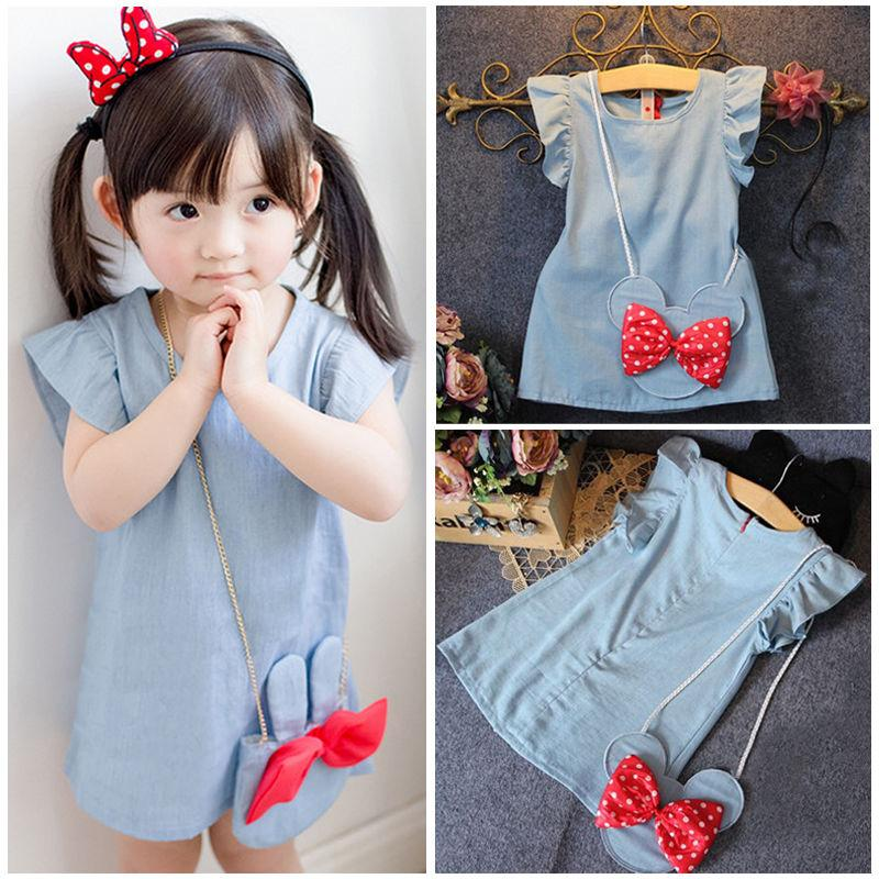 Baby Kids Girl Dress Cartoon Demin Gown Formal Party Dresses Casual Clothes  - intl 2e4b2738a956