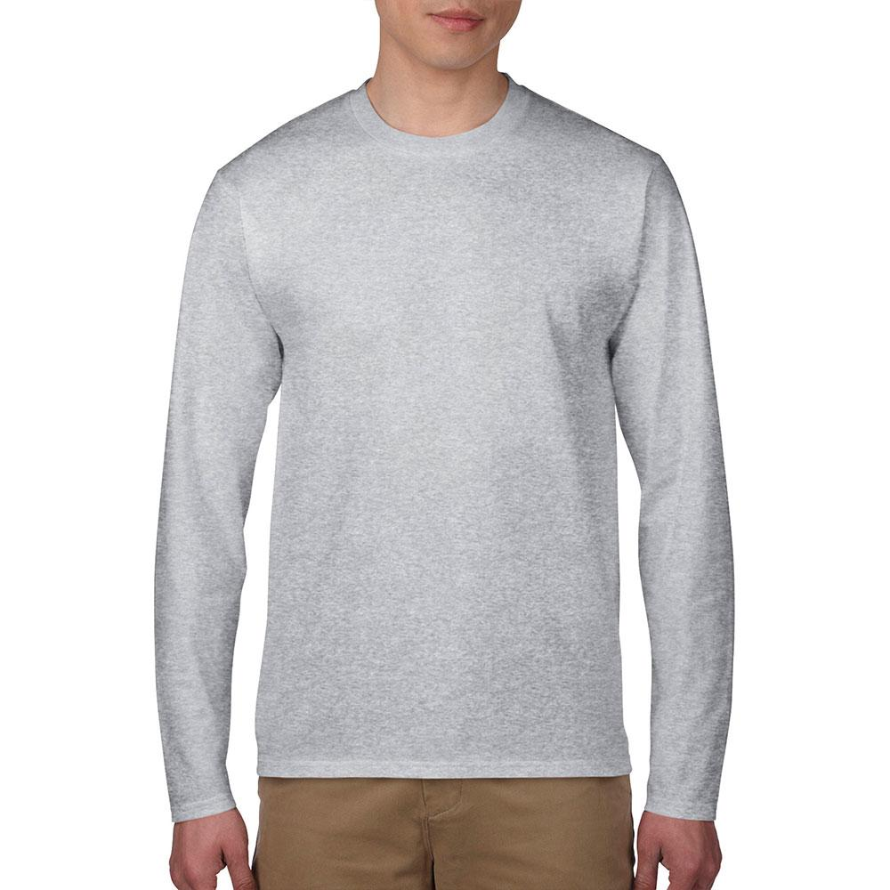 Gildan 76400 Premium Cotton Adult Long Sleeve T Shirt Sport Grey
