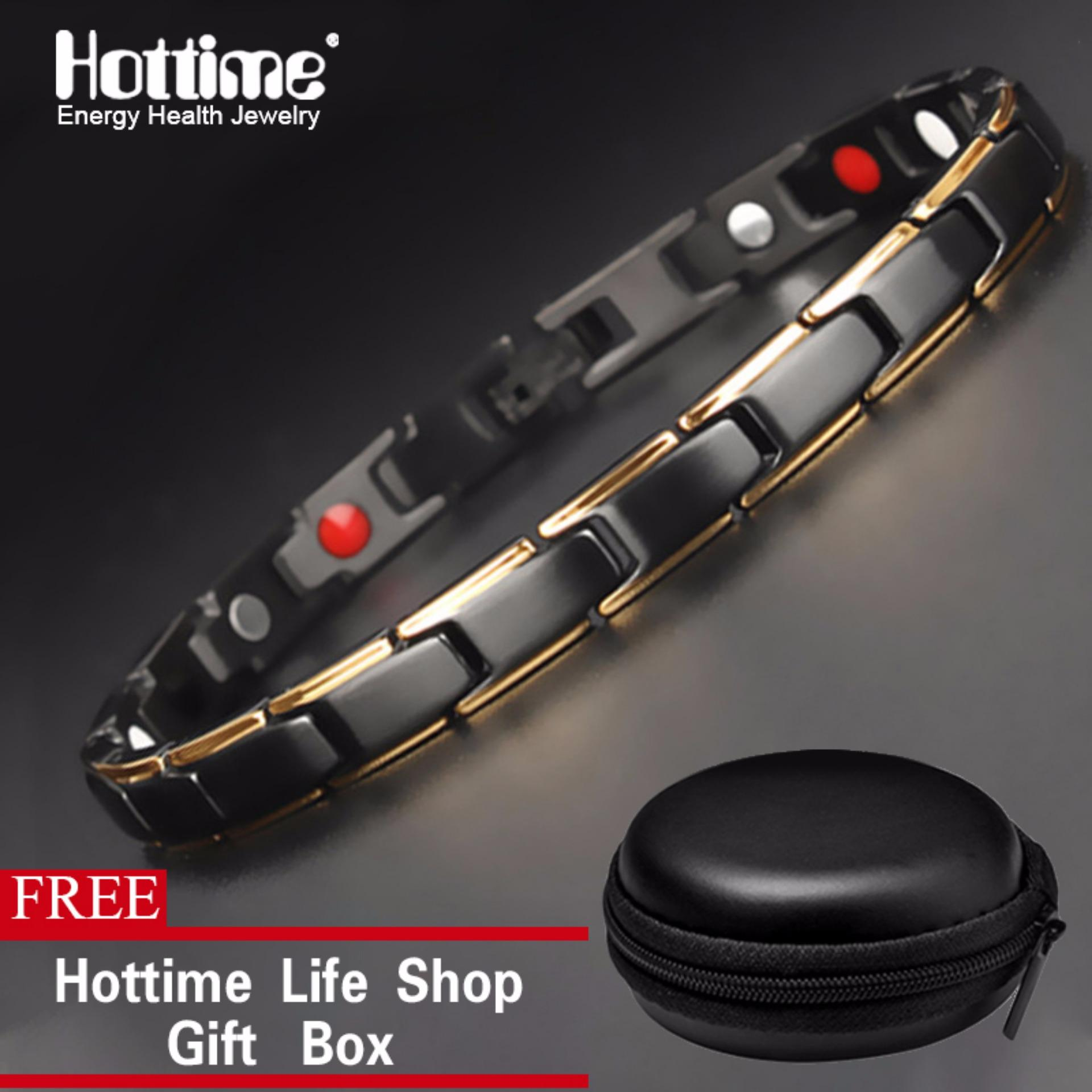 bb2b7b6c060 Hottime 4 in 1 Magnetic New Fashion Lovers' Jewelry Steel Black Gold  Titanium Bracelet For