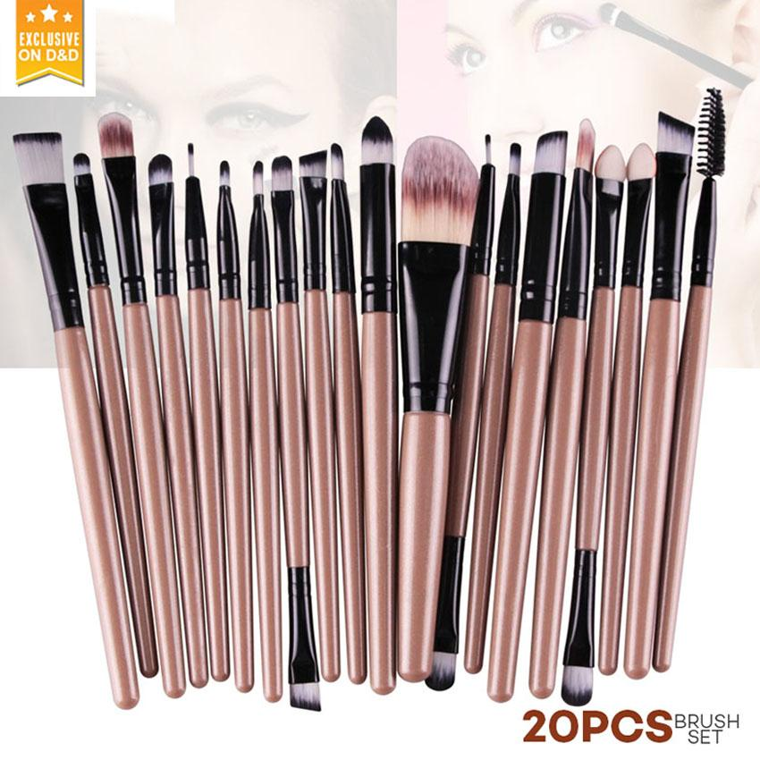 D&D 20Pcs Makeup Brushes Set (Brown) Philippines
