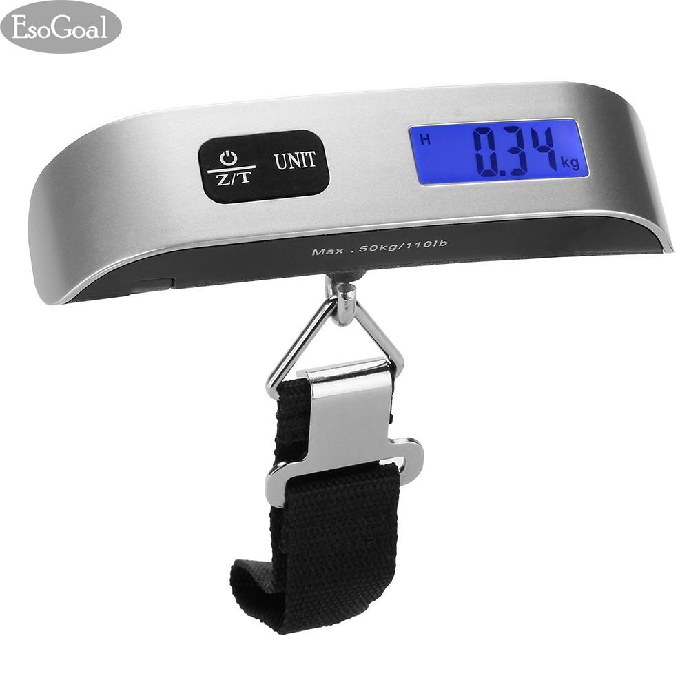 EsoGoal Portable Digital Luggage Scale Gadget Weighing Suitcase 110lbs PoundsTemperature Sensor and Tare Function - intl