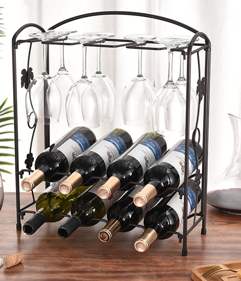 Iron Wine Rack Wine Glass Rack Kitchen Wine Cabinet Decoration Multifunctional Wine Rack Iron Wine Glass Rack Kitchen Dining Table Storage Rack Hold 8 Cups 8 Bottles Lazada Ph