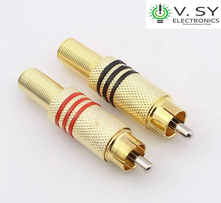 2pcs Plated Metal RCA Plug Male Audio Solder Adapter Connector Black and Red