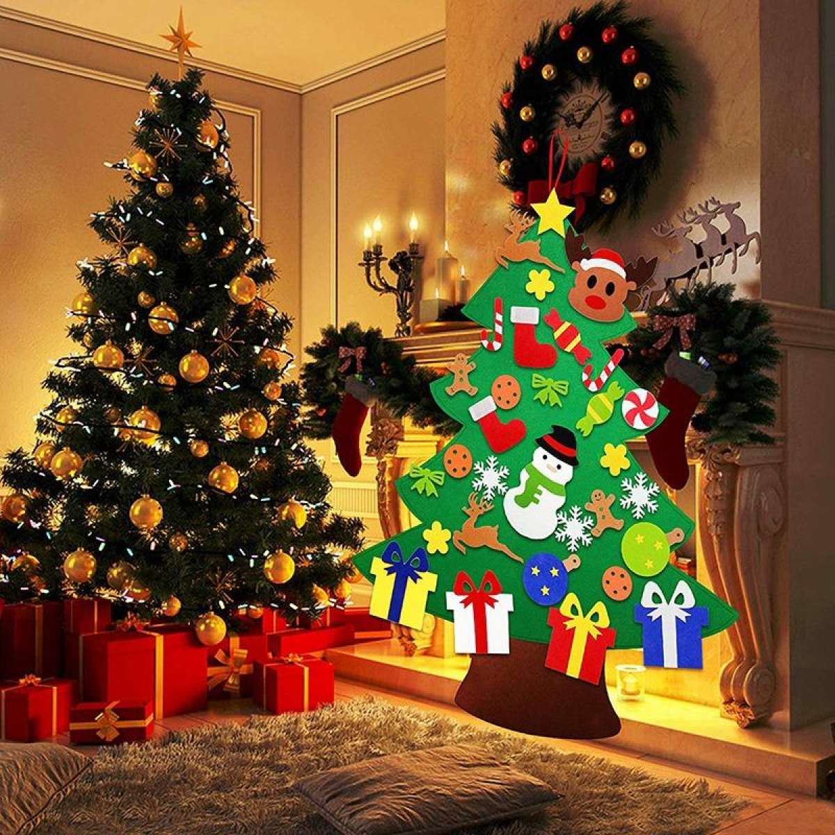 Diy Felt Christmas Tree With 31pcs Ornaments 3 2ft Family 3d Fake Xmas Tree For Kids Toddlers Home Door Window Wall Christmas Decor Lazada