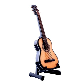 1:12 Mini Acoustic Guitar Wooden Miniature Musical Dollhouse With Case - intl