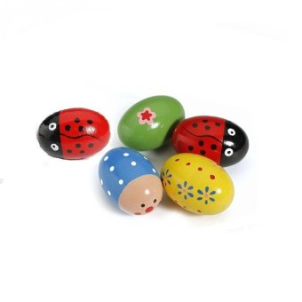 4pcs Wooden Egg Maracas Shakers Music Percussion Toy for Kids(Random Color) - 4