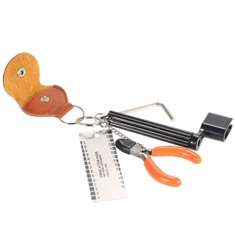 5-in-1 Guitar Accessories Kit Tool Set Setup String Winder Bridge Pin Peg Puller + String Action Gauge Ruler Measuring Luthier + String Plier Nipper Cutter + Pick Case Plectrum Holder + Hexagon Wrench