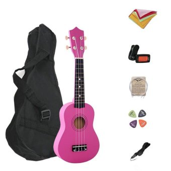 7 in 1 21 Inch Wood Concert Ukulele with Free Bag Tuner Strap SpareString Wiper Ukulele Pick - intl